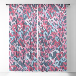 Colorful  Hearts - Graffiti Style Sheer Curtain
