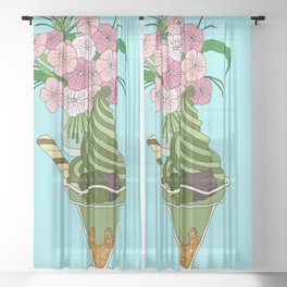 Matcha Green Tea Sundae Sheer Curtain