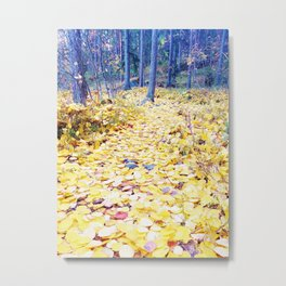 Yellow path in blue forest Metal Print