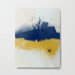 Navy blue and yellow Metal Print