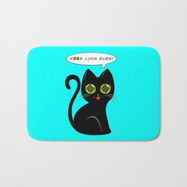 Good luck dude! - black cat with real fourleaf-clover eyes Bath Mat