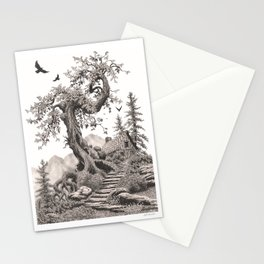 BLUE RIDGE OAK AND MY FANTASY CABIN ON THE HILL Stationery Cards