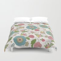 manchester Duvet Covers featuring Manchester floral by Silvia Dekker