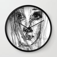 leah flores Wall Clocks featuring LEAH by EDEN