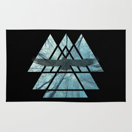 Sacred Geometry Triangles - Misty Forest Eagle Rug