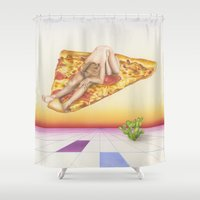 tron Shower Curtains featuring Pizza 69 by Michelle Devereux