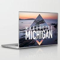 postcard Laptop & iPad Skins featuring Marquette Postcard by ztwede