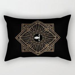 Swan Vintage Art Deco Gold Ornament Rectangular Pillow