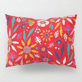 Chrysanthemum Garden in Red Pillow Sham
