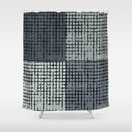 The Grid-Gray Shower Curtain