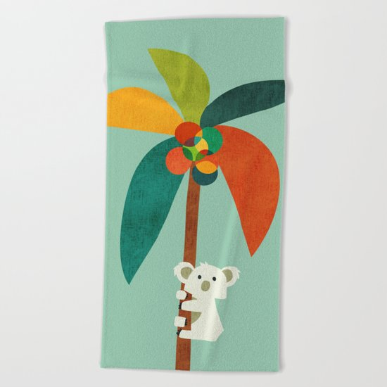 Koala on Coconut Tree Beach Towel