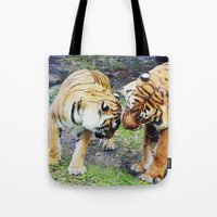 tigers Tote Bags featuring Tigers by Irene Jaramillo