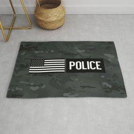 Police: Black Camouflage Rug