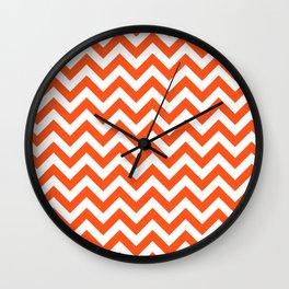 Chevron Print in Orange Wall Clock