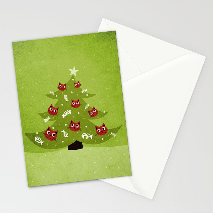 Cat Christmas Tree Stationery Cards