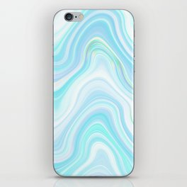 Cool Pastel Blue Lava Marble  #marble #society6 #abstractart iPhone Skin
