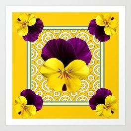 Golden Modern Art Deco Purple Pansy Pattern Art Art Print