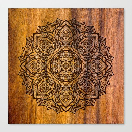 Mandala on wood Canvas Print