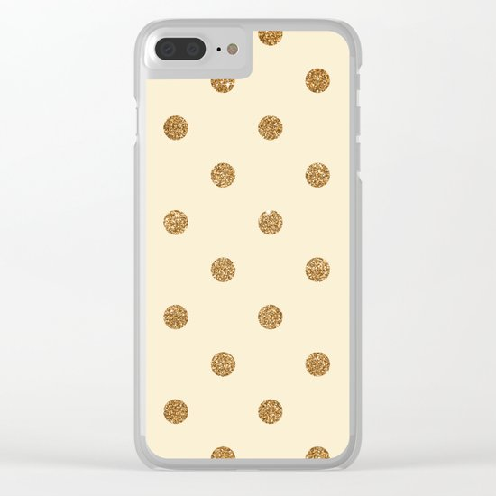 Blanched Almond Gold Glitter Dot Pattern Clear iPhone Case