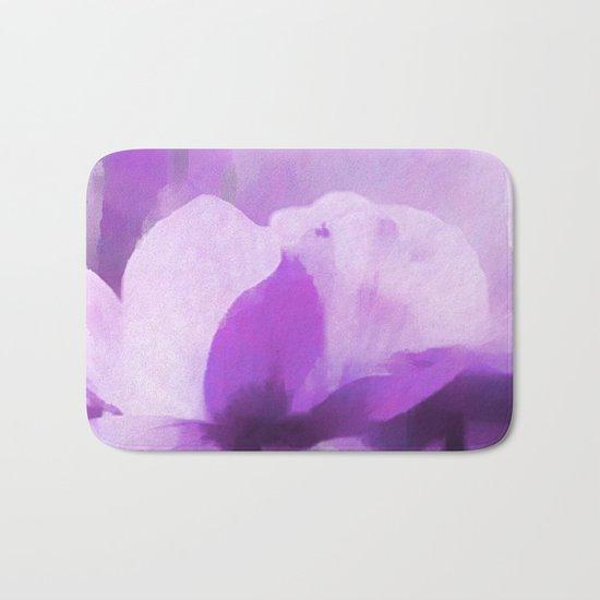 Abstract Painting Anemone Flower Purple Bath Mat
