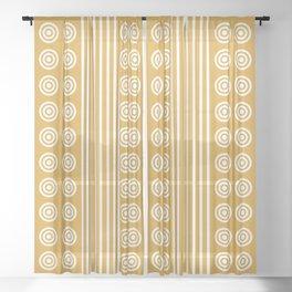 Geometric Golden Yellow & White Vertical Stripes & Circles Sheer Curtain