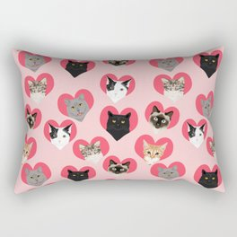 Cat faces love hearts valentines day gifts for cat lovers must have cats Rectangular Pillow