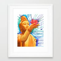 budi satria kwan Framed Art Prints featuring Kwan Yin with Lotus by Keshia Cheung