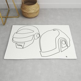one line drawing black and white of daft punk Rug