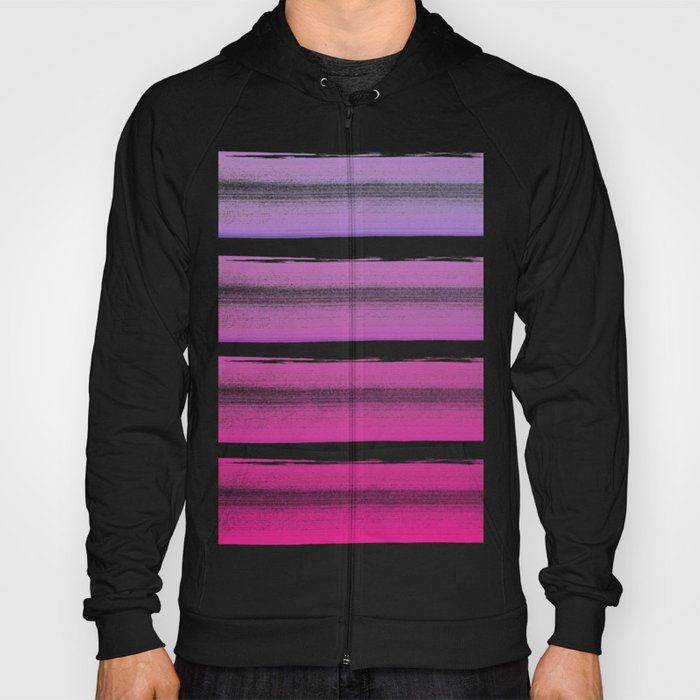 Simply hand painted pink and magenta stripes on white background  2 - Mix and Match Hoody