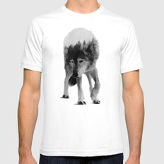 Wolf In The Woods (black & white version) MEDIUM Mens Fitted Tee White