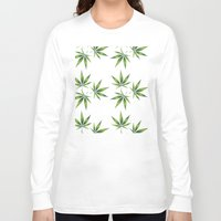 marijuana Long Sleeve T-shirts featuring Marijuana Leaves  by Limitless Design