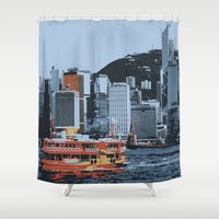 hong kong Shower Curtains featuring Star Ferry Hong Kong by Phil Smyth