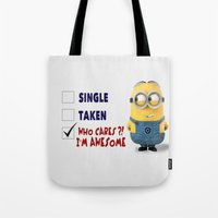 minion Tote Bags featuring Minion by rosita