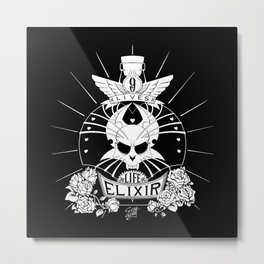 9-Lives Life Elixir (White Lineart) Metal Print