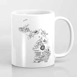 Michigan - Hand Lettered Map Coffee Mug