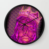 notorious Wall Clocks featuring B.I.G Notorious by Dewi Gale