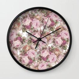 Vintage blush pink burgundy roses floral painting Wall Clock