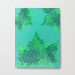 Stained Glass Tiffany style Sycamore leaves on green Metal Print