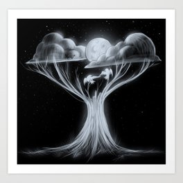 Sharing The Moonlit Sky Art Print