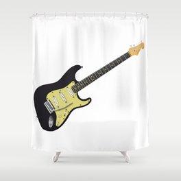 Black Electric Guitar Shower Curtain