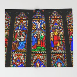 INRI Stained Glass Throw Blanket