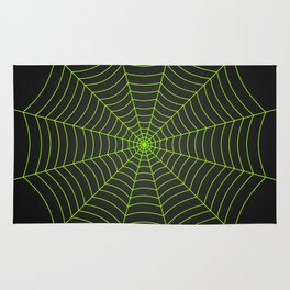 Neon green spider web Rug