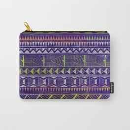 Watercolor and Silver Tribal Pattern on Purple Carry-All Pouch