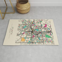 Colorful City Maps: Atlanta, Georgia Rug
