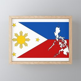 Philippines Flag with Filipino Map Framed Mini Art Print