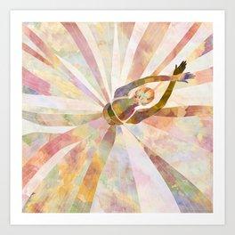 Sleeping Ballerina Floral - Gold Summer Palette Art Print