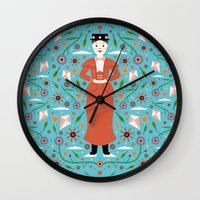 mary poppins Wall Clocks featuring Mary Poppins by Carly Watts