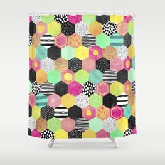 Color Hive Shower Curtain