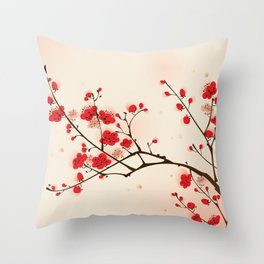 Oriental plum blossom in spring 009 Throw Pillow