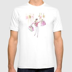 Shopping Spree MEDIUM White Mens Fitted Tee
